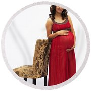 Color Portrait Young Pregnant Spanish Woman Leaning On Chair Round Beach Towel