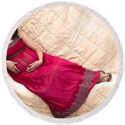 Color Portrait Young Pregnant Spanish Woman Reclining Round Beach Towel