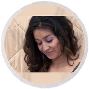 Color Portrait Young Spanish Woman II Round Beach Towel
