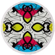 Color Symmetry 3 Round Beach Towel