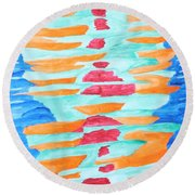 Color Totem Round Beach Towel