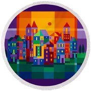 Color Town Round Beach Towel