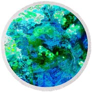 Color Wash Abstract In Blue Round Beach Towel