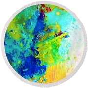 Color Wash Abstract Round Beach Towel