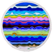 Color Waves No. 4 Round Beach Towel