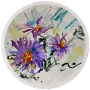 Colorado Asters Round Beach Towel