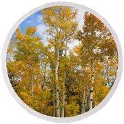 Colorado Autumn Aspens  Round Beach Towel