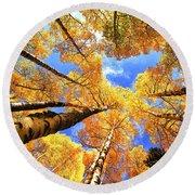 Colorado Autumn Sky Round Beach Towel