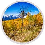 Colorado Backcountry Autumn View Round Beach Towel