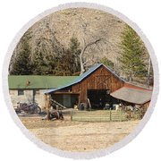 Colorado Barn Round Beach Towel