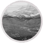 Colorado Continental Divide Panorama Hdr Bw Round Beach Towel