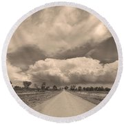 Colorado Country Road Sepia Stormin Skies Round Beach Towel
