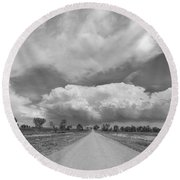 Colorado Country Road Stormin Skies Bw Round Beach Towel