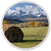 Colorado Haybale Round Beach Towel
