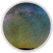 Colorado Indian Peaks Milky Way Panorama Round Beach Towel