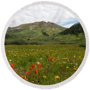 Colorado Meadow And Mountain Landscape Round Beach Towel