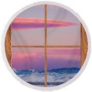 Colorado Moon Sunrise Barn Wood Picture Window View Round Beach Towel