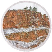 Colorado Red Sandstone Country Dusted With Snow Round Beach Towel