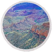 Colorado River From Walhalla Overlook On North Rim Of Grand Canyon-arizona Round Beach Towel