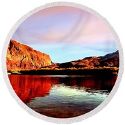 Colorado River Lees Ferry Painting Round Beach Towel