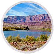 Colorado River Upstream From Boat Ramp At Lee's Ferry In Glen Canyon National Recreation Area-az Round Beach Towel