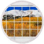 Colorado Rocky Mountain Autumn Pass White Window View  Round Beach Towel