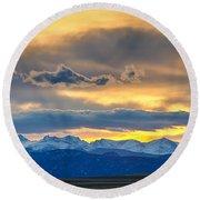 Colorado Rocky Mountain Front Range Sunset Gold Round Beach Towel