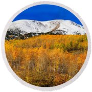 Colorado Rocky Mountain Independence Pass Autumn Pano 2 Round Beach Towel