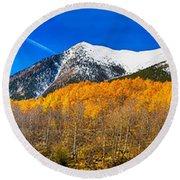 Colorado Rocky Mountain Independence Pass Autumn Panorama Round Beach Towel