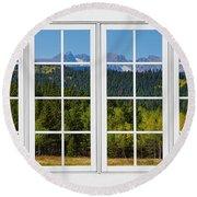 Colorado Rocky Mountains White Window Frame View Round Beach Towel