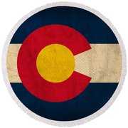 Colorado State Flag Art On Worn Canvas Round Beach Towel by Design Turnpike