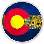 Colorado State Flag In Van Gogh Round Beach Towel