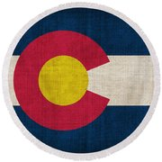 Colorado State Flag Round Beach Towel by Pixel Chimp