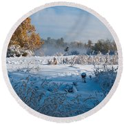 Colorado Waning Autumn And Approaching Winter Round Beach Towel by Cascade Colors