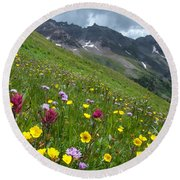 Colorado Wildflowers And Mountains Round Beach Towel by Cascade Colors