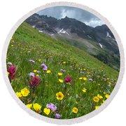 Colorado Wildflowers And Mountains Round Beach Towel