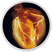 Colored Arteriogram Of Arteries Of Healthy Heart Round Beach Towel