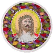 Colored Background Jesus Round Beach Towel