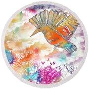 Colored Bird Round Beach Towel