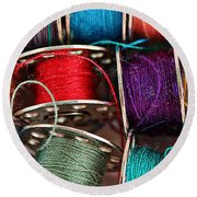 Colored Bobbins - Seamstress - Quilter Round Beach Towel