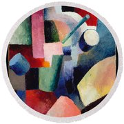 Colored Composition Of Forms   Round Beach Towel