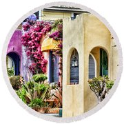 Colored Cottages By Diana Sainz Round Beach Towel