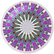 Colored Foil Lily Kaleidoscope Under Glass Round Beach Towel