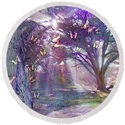 Colored Forest Round Beach Towel