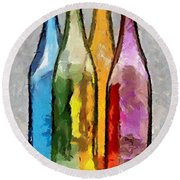 Colored Glass Bottles Round Beach Towel