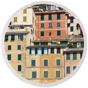 Colored Italian Facades Round Beach Towel