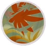 Colored Jungle Orange Splash Round Beach Towel