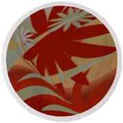Colored Jungle Red Round Beach Towel