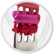 Colored Lipstick On Fork Round Beach Towel