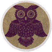 Colored Owl 1 Of 4  Round Beach Towel